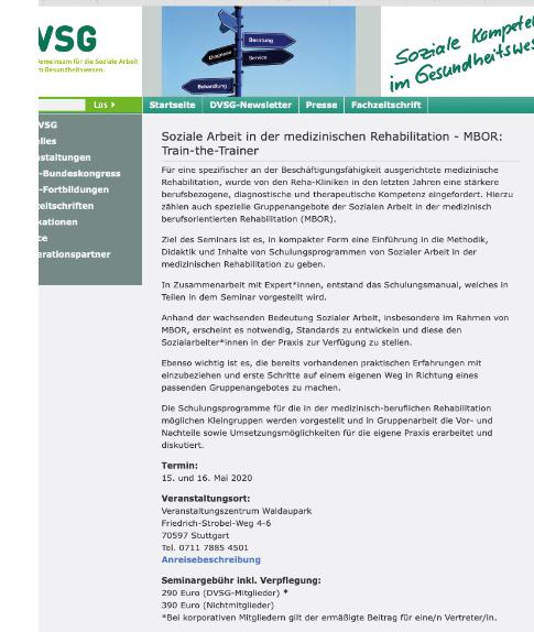 Screenshot der Homepage der DVSG